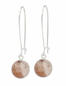 Brown Crackled Glass Bead Ball Drop Earrings - Kidney Ear Wire